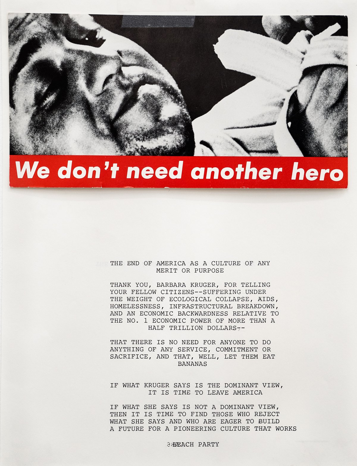 Peter FendWe don ́t need another hero, 1988invitation card on paper28 x 22 cm